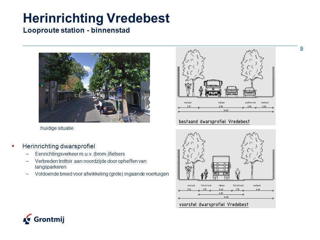 Herinrichting Vredebest Looproute station - binnenstad huidige situatie  Herinrichting dwarsprofiel –Eenrichtingsverkeer m.u.v. (brom-)fietsers –Verb