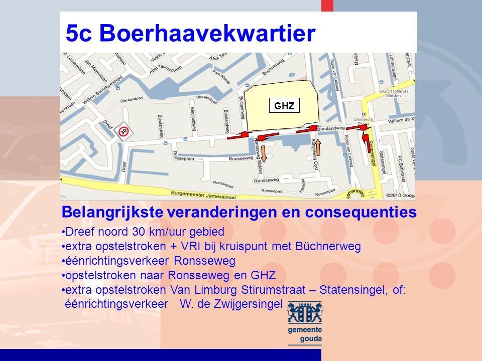 Dreef noord 30 km/uur gebied extra opstelstroken + VRI bij kruispunt met Büchnerweg éénrichtingsverkeer Ronsseweg opstelstroken naar Ronsseweg en GHZ extra opstelstroken Van Limburg Stirumstraat – Statensingel, of: éénrichtingsverkeer W.