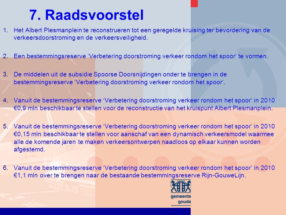7. Raadsvoorstel 1.Het Albert Plesmanplein te reconstrueren tot een geregelde kruising ter bevordering van de verkeersdoorstroming en de verkeersveili