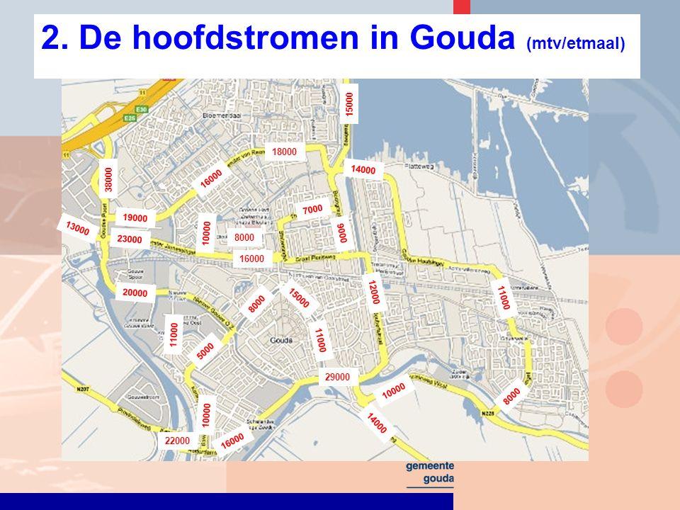 2. De hoofdstromen in Gouda (mtv/etmaal) 16000 23000 7000 11000 12000 14000 29000 16000 5000 13000 20000 11000 38000 11000 15000 8000 15000 22000 1000