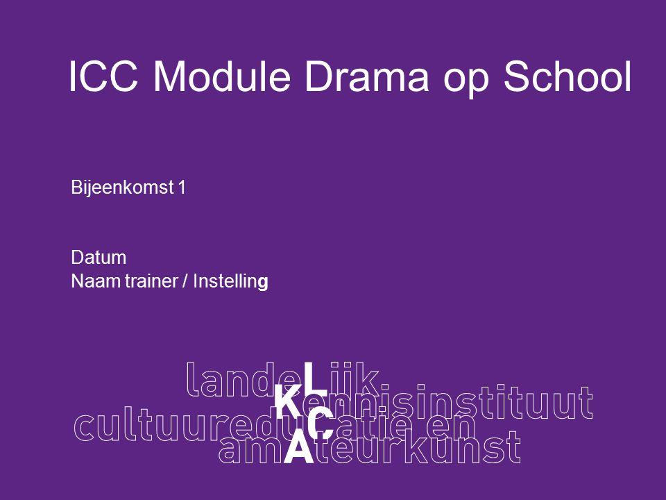 ICC Module Drama op School Bijeenkomst 1 Datum Naam trainer / Instelling