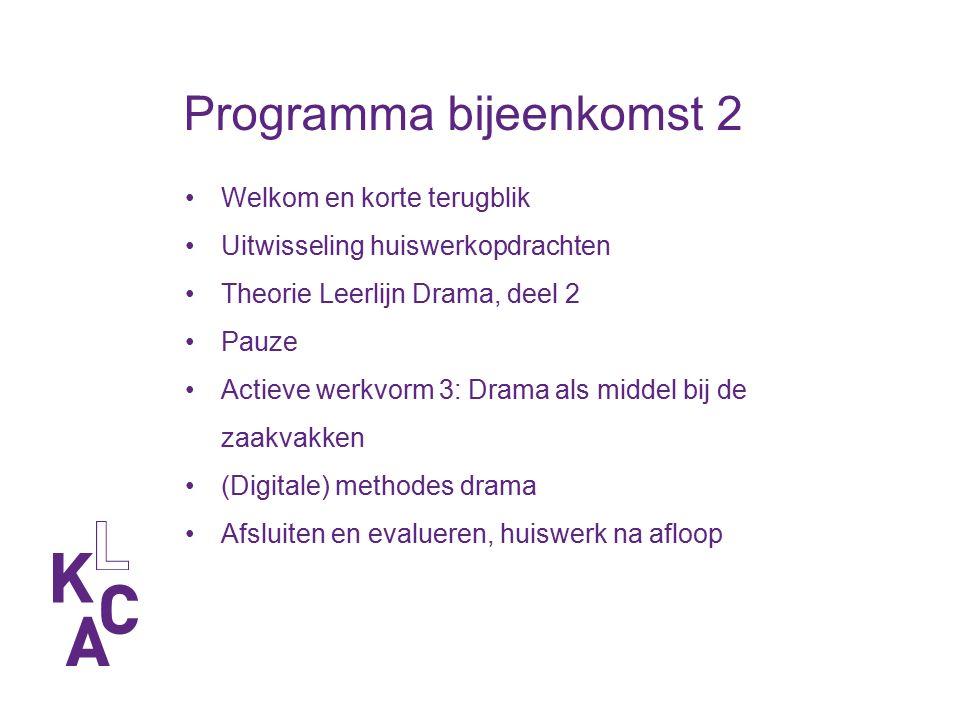 Programma bijeenkomst 2 Welkom en korte terugblik Uitwisseling huiswerkopdrachten Theorie Leerlijn Drama, deel 2 Pauze Actieve werkvorm 3: Drama als m