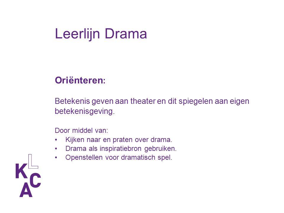 Leerlijn Drama Oriënteren : Betekenis geven aan theater en dit spiegelen aan eigen betekenisgeving. Door middel van: Kijken naar en praten over drama.