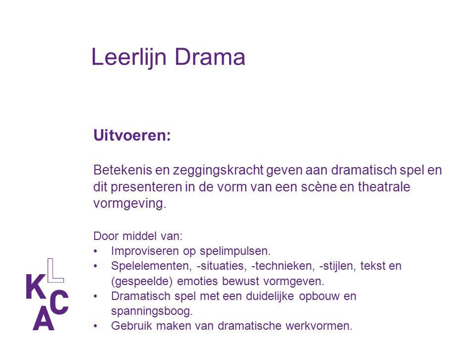 Leerlijn Drama Uitvoeren: Betekenis en zeggingskracht geven aan dramatisch spel en dit presenteren in de vorm van een scène en theatrale vormgeving. D