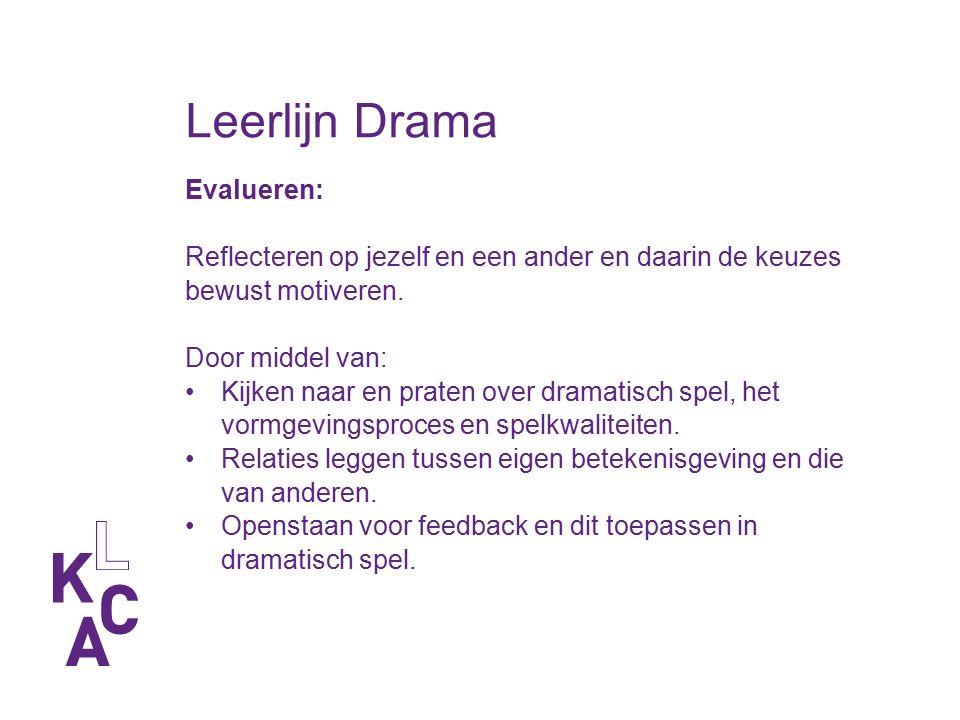 Leerlijn Drama Evalueren: Reflecteren op jezelf en een ander en daarin de keuzes bewust motiveren. Door middel van: Kijken naar en praten over dramati