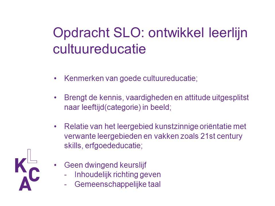 Opdracht SLO: ontwikkel leerlijn cultuureducatie Kenmerken van goede cultuureducatie; Brengt de kennis, vaardigheden en attitude uitgesplitst naar lee