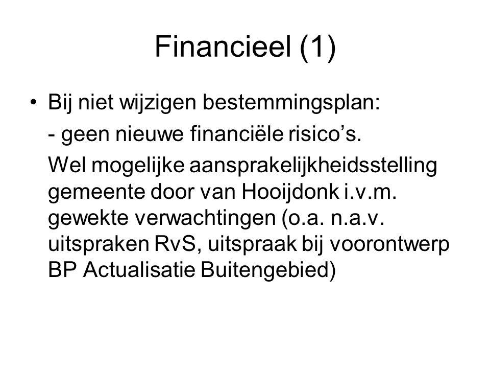 Financieel (1) Bij niet wijzigen bestemmingsplan: - geen nieuwe financiële risico's.