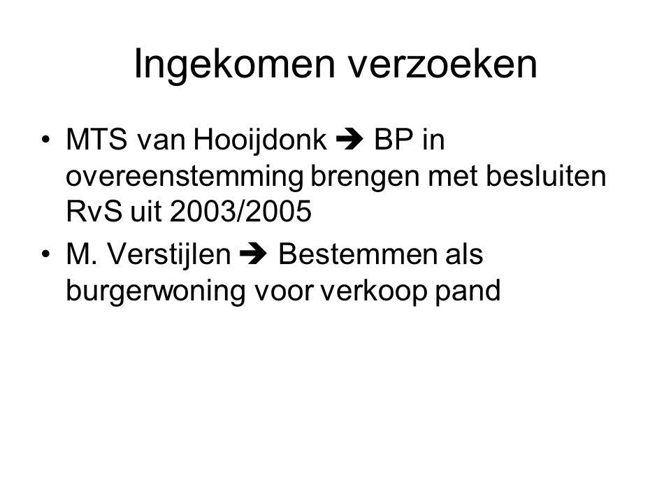 Ingekomen verzoeken MTS van Hooijdonk  BP in overeenstemming brengen met besluiten RvS uit 2003/2005 M.