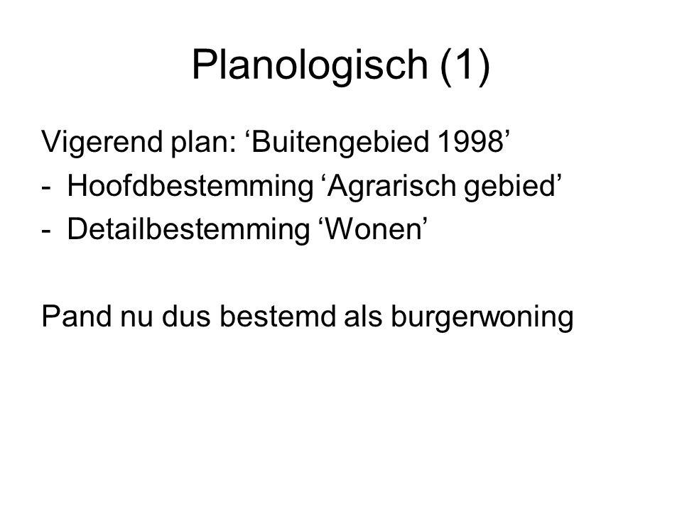 Planologisch (1) Vigerend plan: 'Buitengebied 1998' -Hoofdbestemming 'Agrarisch gebied' -Detailbestemming 'Wonen' Pand nu dus bestemd als burgerwoning