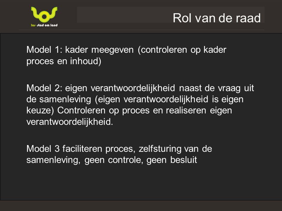 Rol van de raad Model 1: kader meegeven (controleren op kader proces en inhoud) Model 2: eigen verantwoordelijkheid naast de vraag uit de samenleving (eigen verantwoordelijkheid is eigen keuze) Controleren op proces en realiseren eigen verantwoordelijkheid.