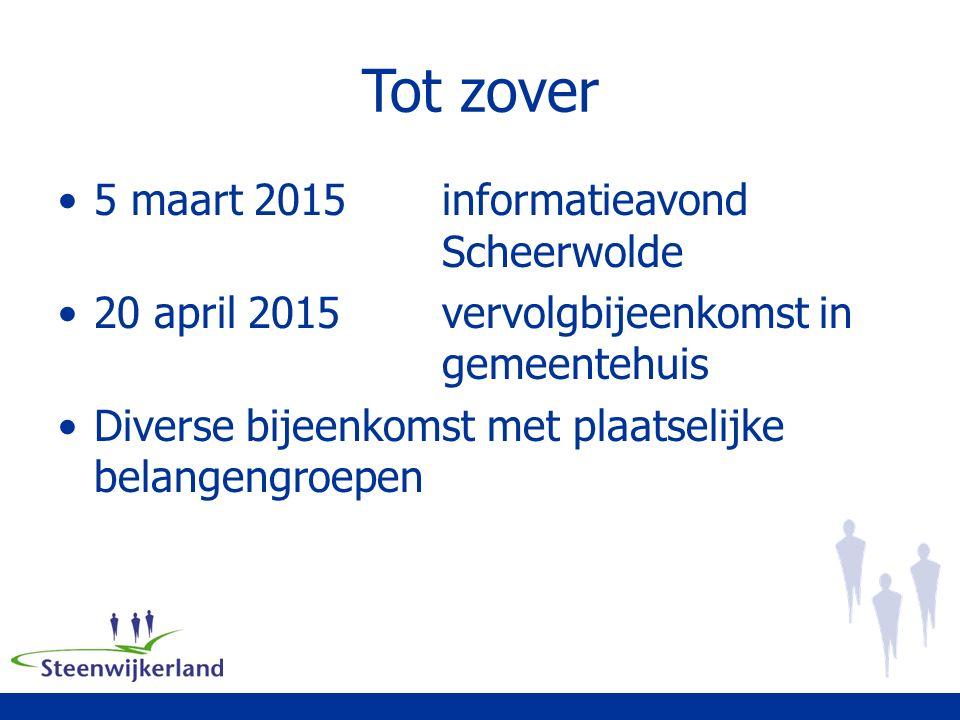 Tot zover 5 maart 2015informatieavond Scheerwolde 20 april 2015vervolgbijeenkomst in gemeentehuis Diverse bijeenkomst met plaatselijke belangengroepen
