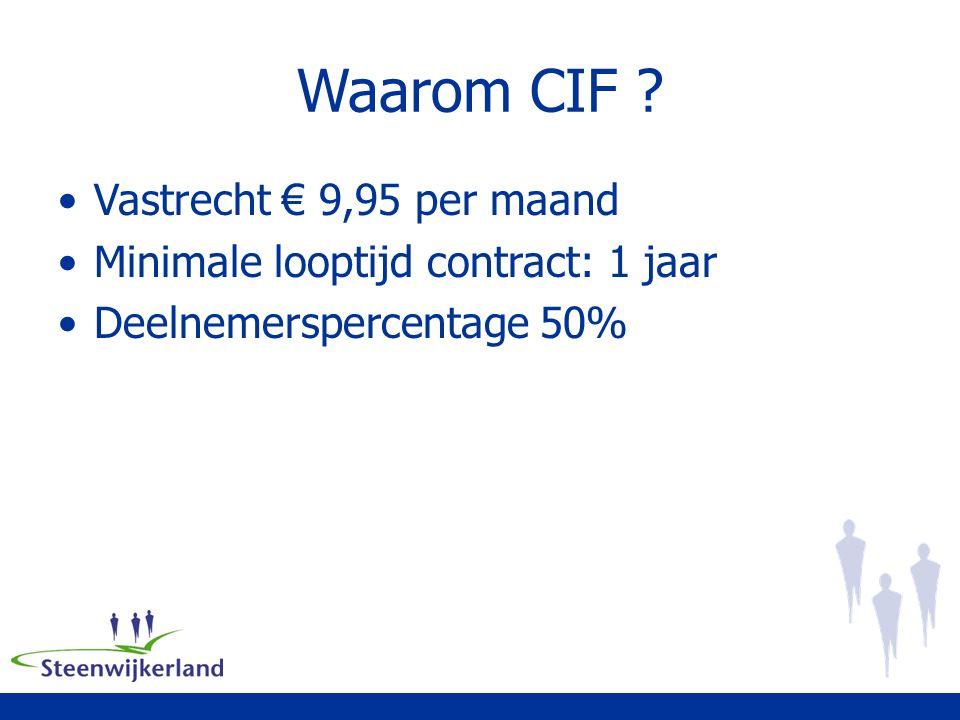 Waarom CIF Vastrecht € 9,95 per maand Minimale looptijd contract: 1 jaar Deelnemerspercentage 50%