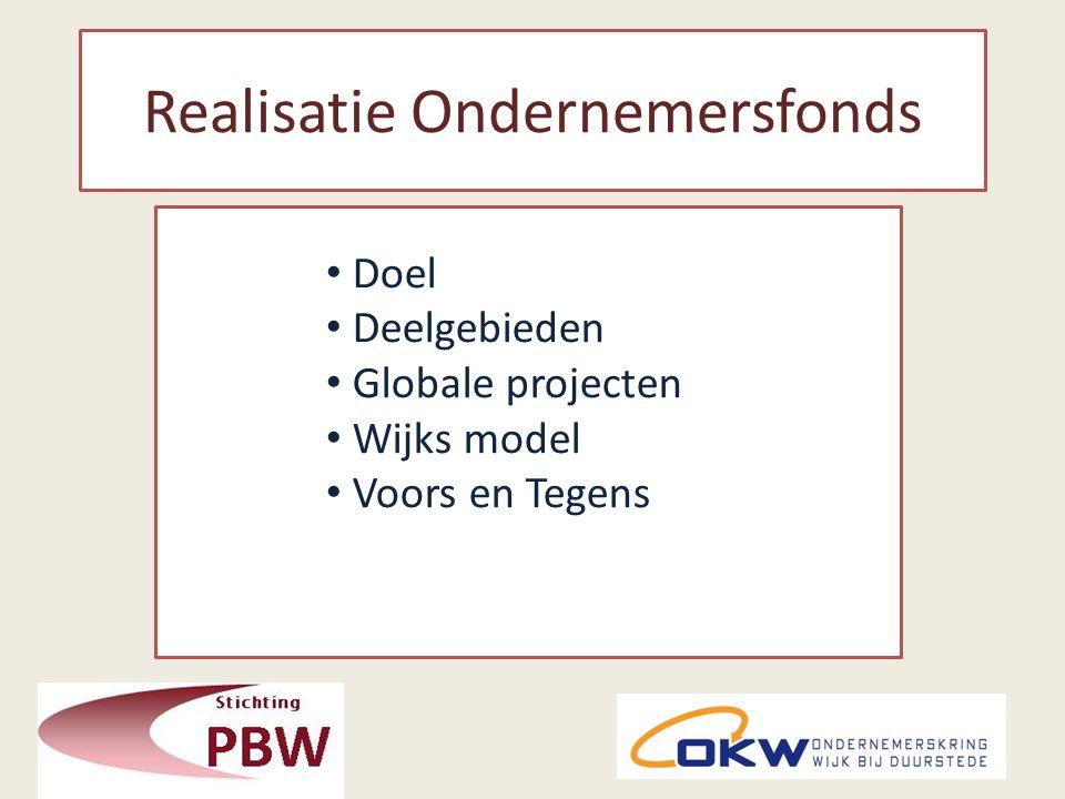 Realisatie Ondernemersfonds Doel Deelgebieden Globale projecten Wijks model Voors en Tegens