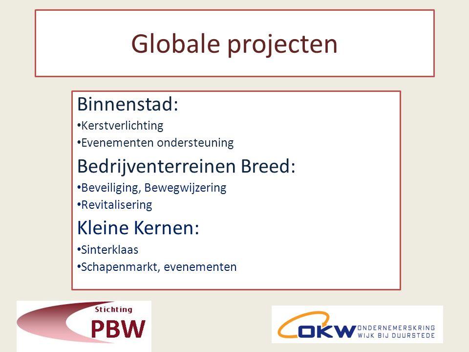 Globale projecten Binnenstad: Kerstverlichting Evenementen ondersteuning Bedrijventerreinen Breed: Beveiliging, Bewegwijzering Revitalisering Kleine Kernen: Sinterklaas Schapenmarkt, evenementen