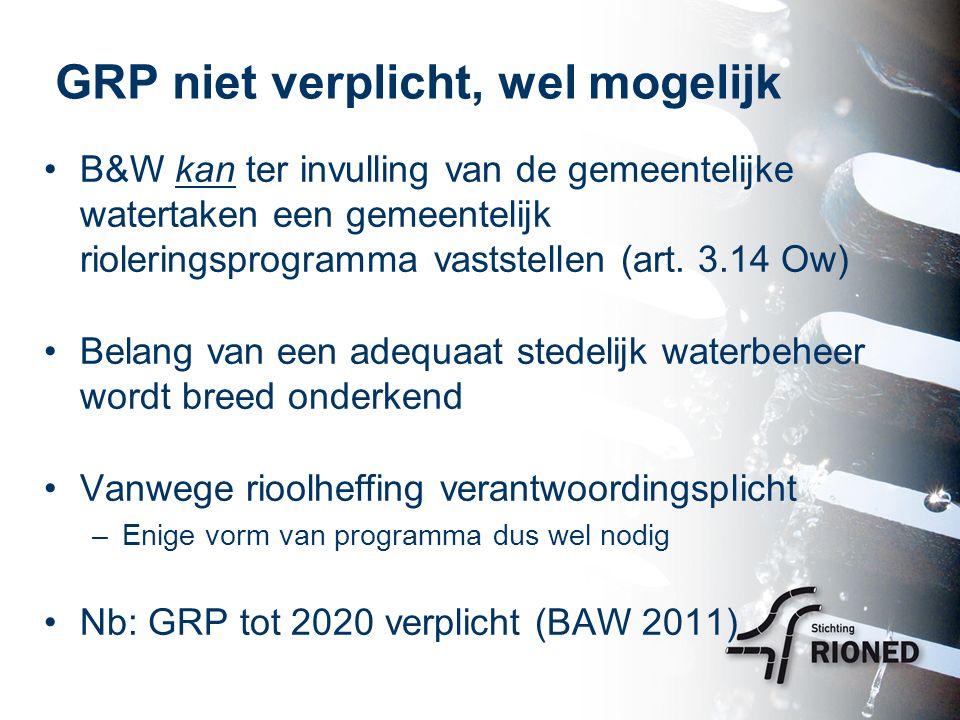 GRP niet verplicht, wel mogelijk B&W kan ter invulling van de gemeentelijke watertaken een gemeentelijk rioleringsprogramma vaststellen (art.