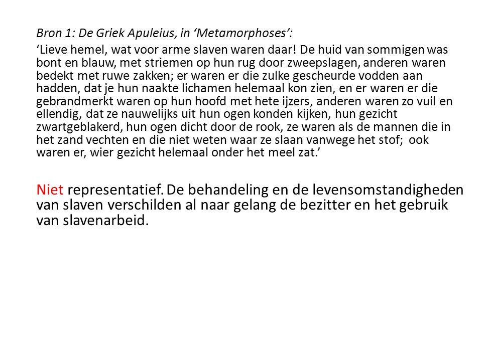 Bron 1: De Griek Apuleius, in 'Metamorphoses': 'Lieve hemel, wat voor arme slaven waren daar! De huid van sommigen was bont en blauw, met striemen op
