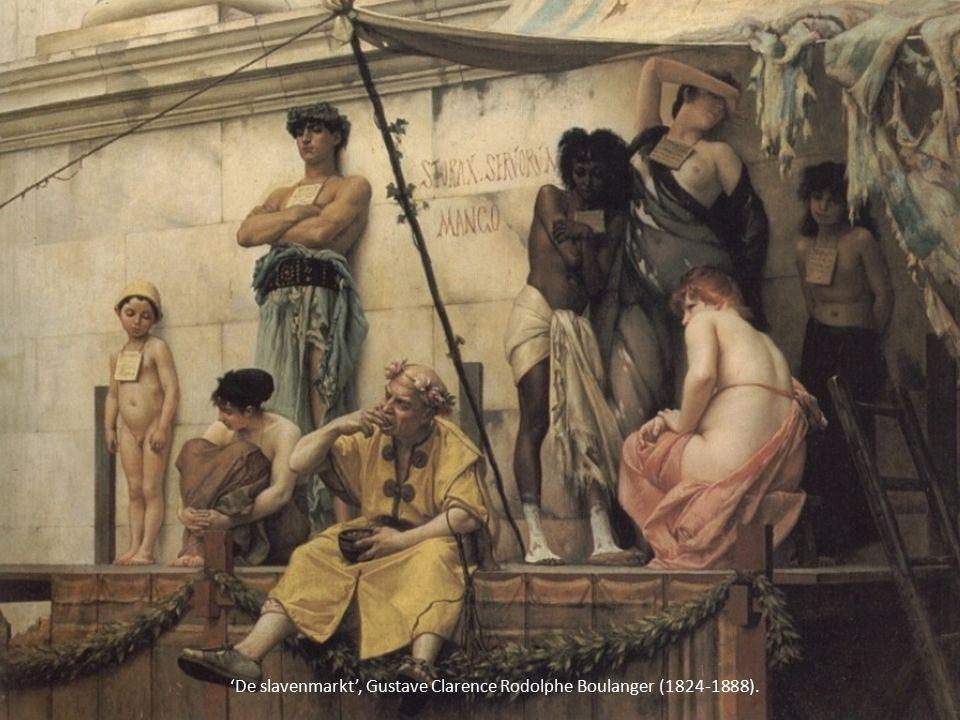 Slaven die met een zweepje worden geslagen.