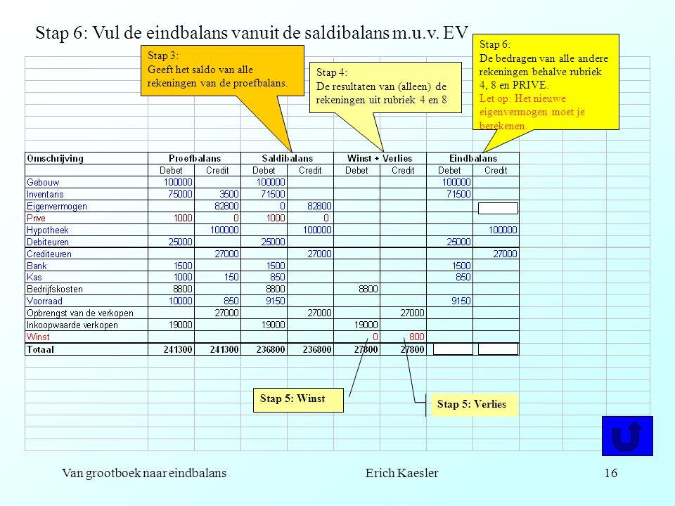 Van grootboek naar eindbalans Erich Kaesler15 Stap 4: De resultaten van (alleen) de rekeningen uit rubriek 4 en 8 Stap 6: De bedragen van alle andere