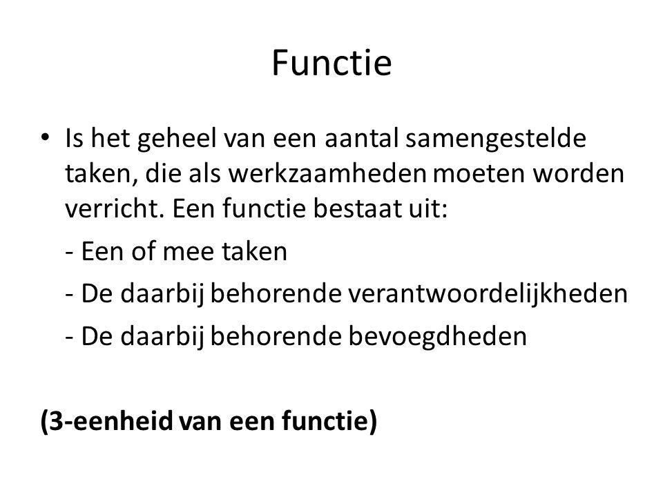 Functie Is het geheel van een aantal samengestelde taken, die als werkzaamheden moeten worden verricht.