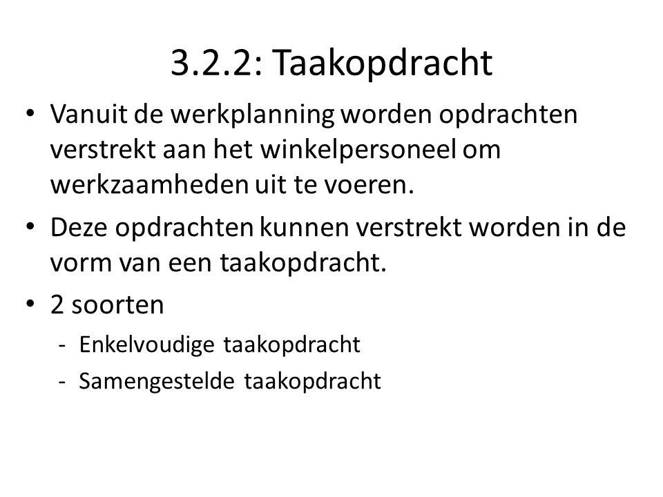 3.2.2: Taakopdracht Vanuit de werkplanning worden opdrachten verstrekt aan het winkelpersoneel om werkzaamheden uit te voeren.