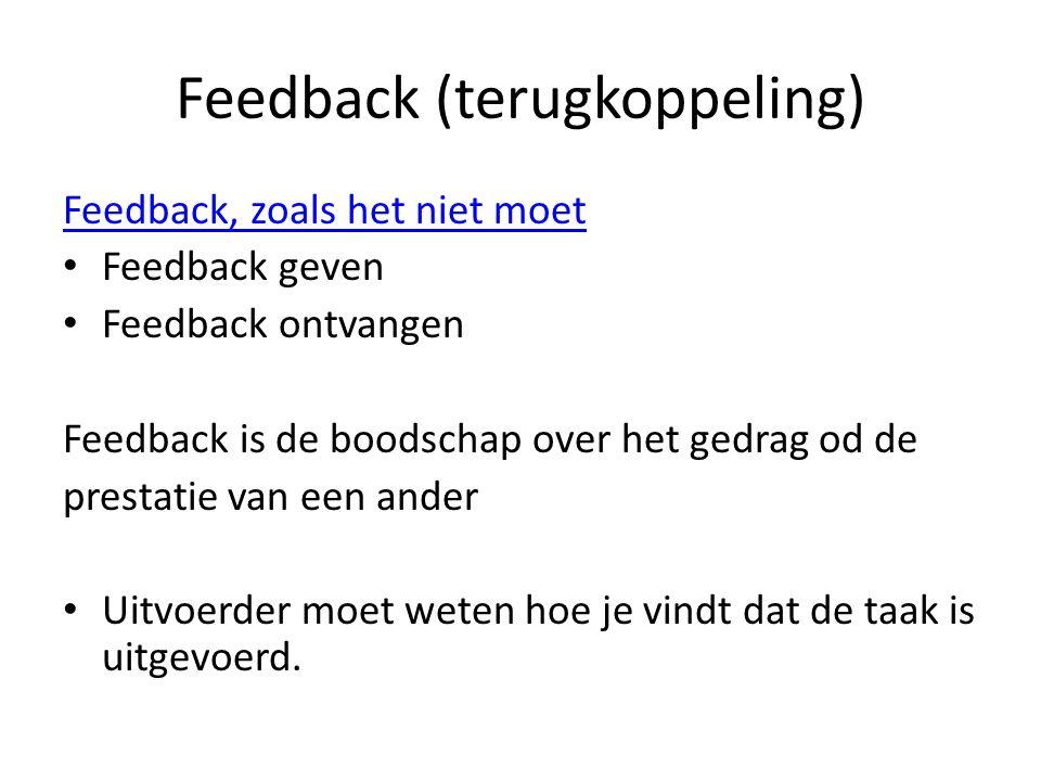 Feedback (terugkoppeling) Feedback, zoals het niet moet Feedback geven Feedback ontvangen Feedback is de boodschap over het gedrag od de prestatie van een ander Uitvoerder moet weten hoe je vindt dat de taak is uitgevoerd.