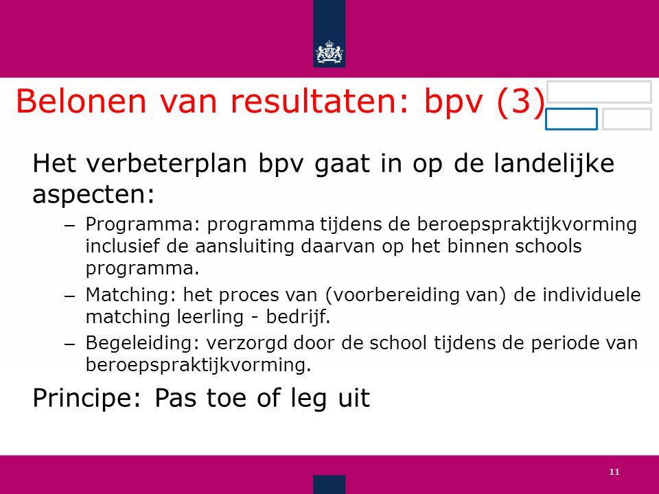 Belonen van resultaten: bpv (3).
