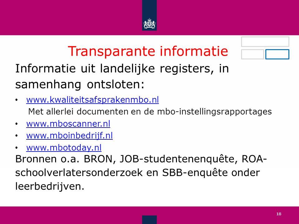 Transparante informatie Informatie uit landelijke registers, in samenhang ontsloten: www.kwaliteitsafsprakenmbo.nl Met allerlei documenten en de mbo-instellingsrapportages www.mboscanner.nl www.mboinbedrijf.nl www.mbotoday.nl Bronnen o.a.