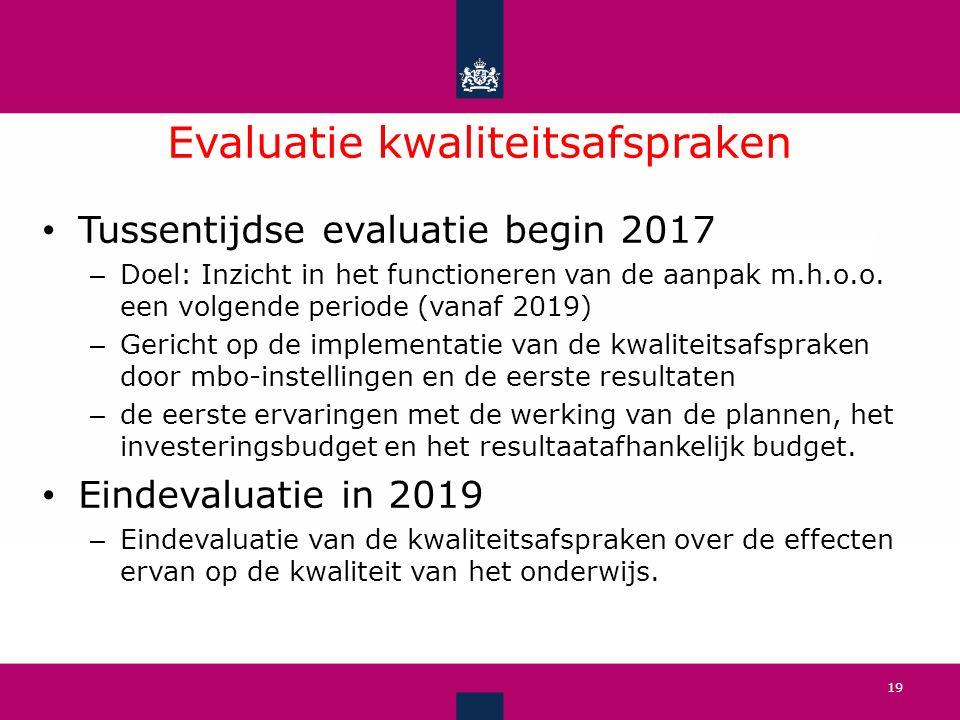 Evaluatie kwaliteitsafspraken 19 Tussentijdse evaluatie begin 2017 – Doel: Inzicht in het functioneren van de aanpak m.h.o.o.