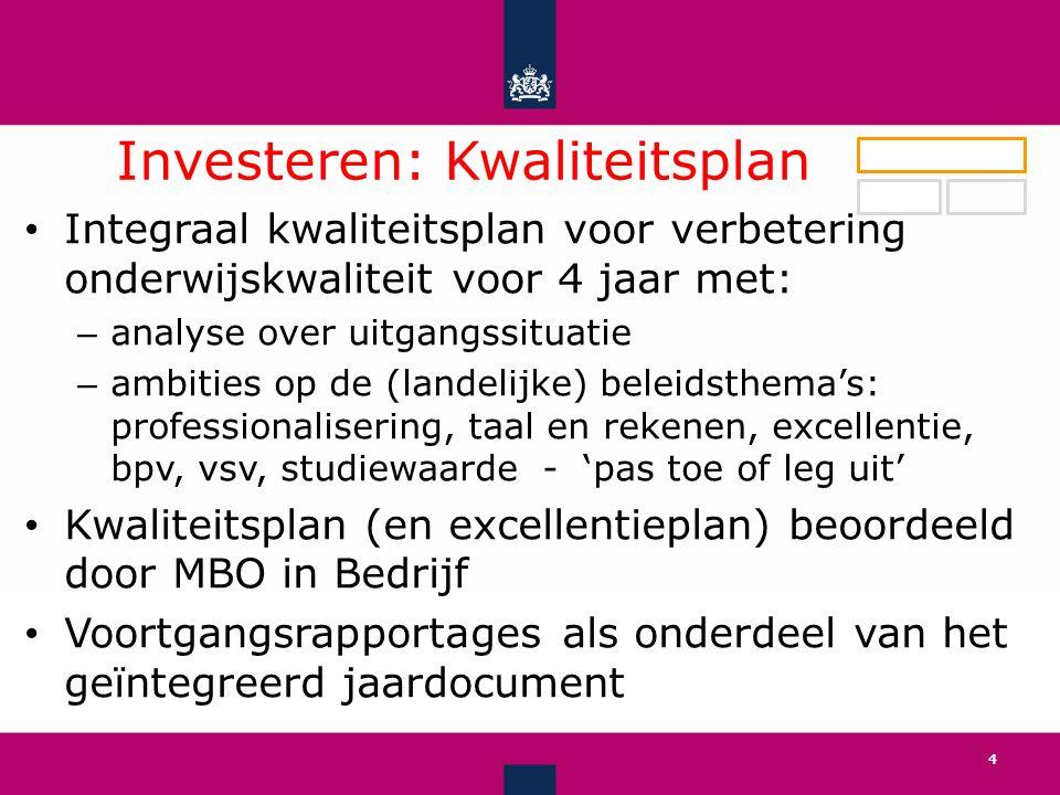 Investeren: Kwaliteitsplan ' 4 Integraal kwaliteitsplan voor verbetering onderwijskwaliteit voor 4 jaar met: – analyse over uitgangssituatie – ambities op de (landelijke) beleidsthema's: professionalisering, taal en rekenen, excellentie, bpv, vsv, studiewaarde - 'pas toe of leg uit' Kwaliteitsplan (en excellentieplan) beoordeeld door MBO in Bedrijf Voortgangsrapportages als onderdeel van het geïntegreerd jaardocument 4