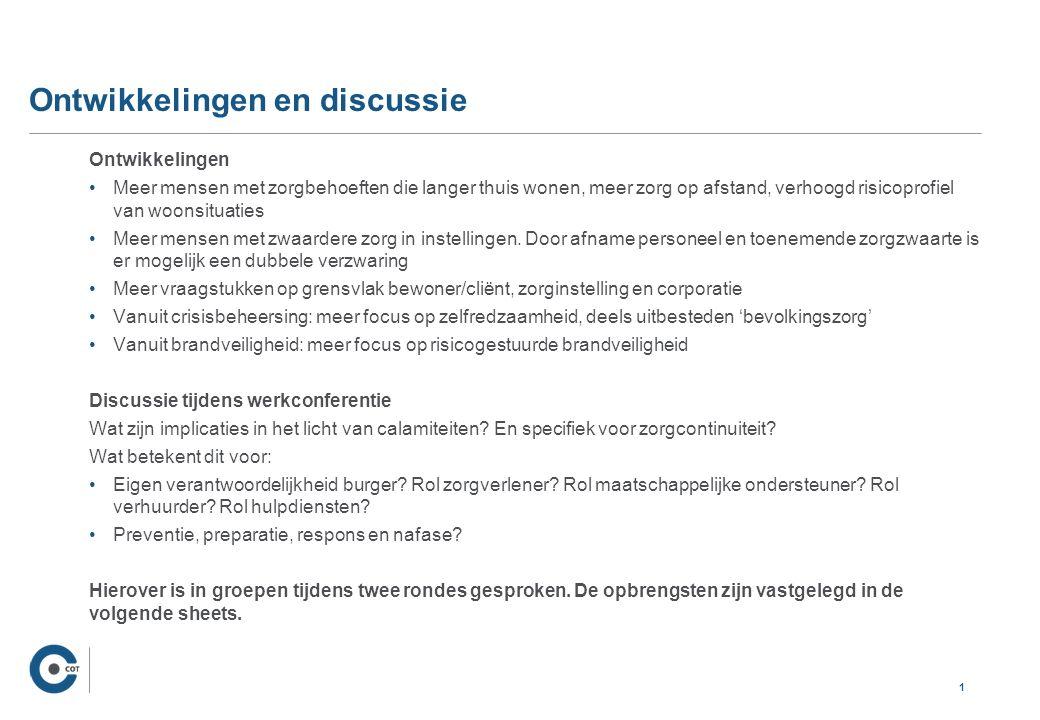 Voorbeelden van vragen/vraagstukken Preventie en preparatie (voor) Wie heeft welke rol in preventie.