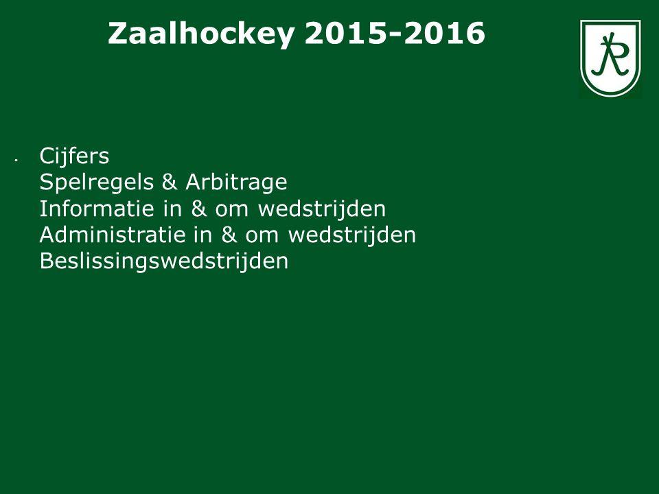 Cijfers Spelregels & Arbitrage Informatie in & om wedstrijden Administratie in & om wedstrijden Beslissingswedstrijden Zaalhockey 2015-2016
