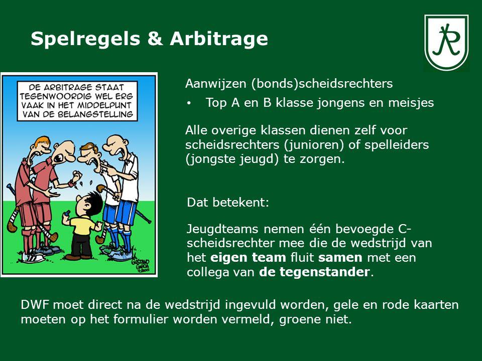 Spelregels & Arbitrage Aanwijzen (bonds)scheidsrechters Top A en B klasse jongens en meisjes Alle overige klassen dienen zelf voor scheidsrechters (ju