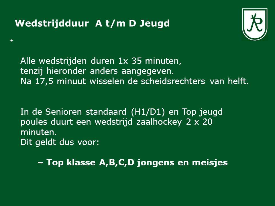 Voor de Jongste Jeugd in Zuid Holland de volgende aanpassingen op de officiële zaalregels van kracht: In de eerstejaars jongste Jeugd (6E) poules duurt een wedstrijd zaalhockey 2 x 15 minuten In de tweede jaars E Jongste Jeugd (8E) poules duurt een wedstrijd zaalhockey 1x35 minuten Geen hoge ballen op doel boven 40 cm/ kniehoogte Geen strafcorner bij de eerstejaars jongste Jeugd (6E) Wedstrijdduur & Speelregels Jongste Jeugd / Mini's