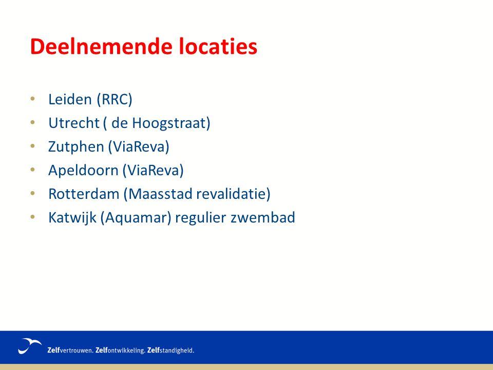 Deelnemende locaties Leiden (RRC) Utrecht ( de Hoogstraat) Zutphen (ViaReva) Apeldoorn (ViaReva) Rotterdam (Maasstad revalidatie) Katwijk (Aquamar) regulier zwembad
