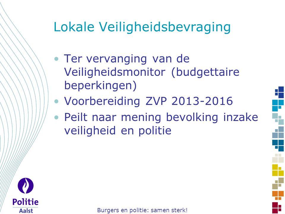 Burgers en politie: samen sterk! Lokale Veiligheidsbevraging Ter vervanging van de Veiligheidsmonitor (budgettaire beperkingen) Voorbereiding ZVP 2013