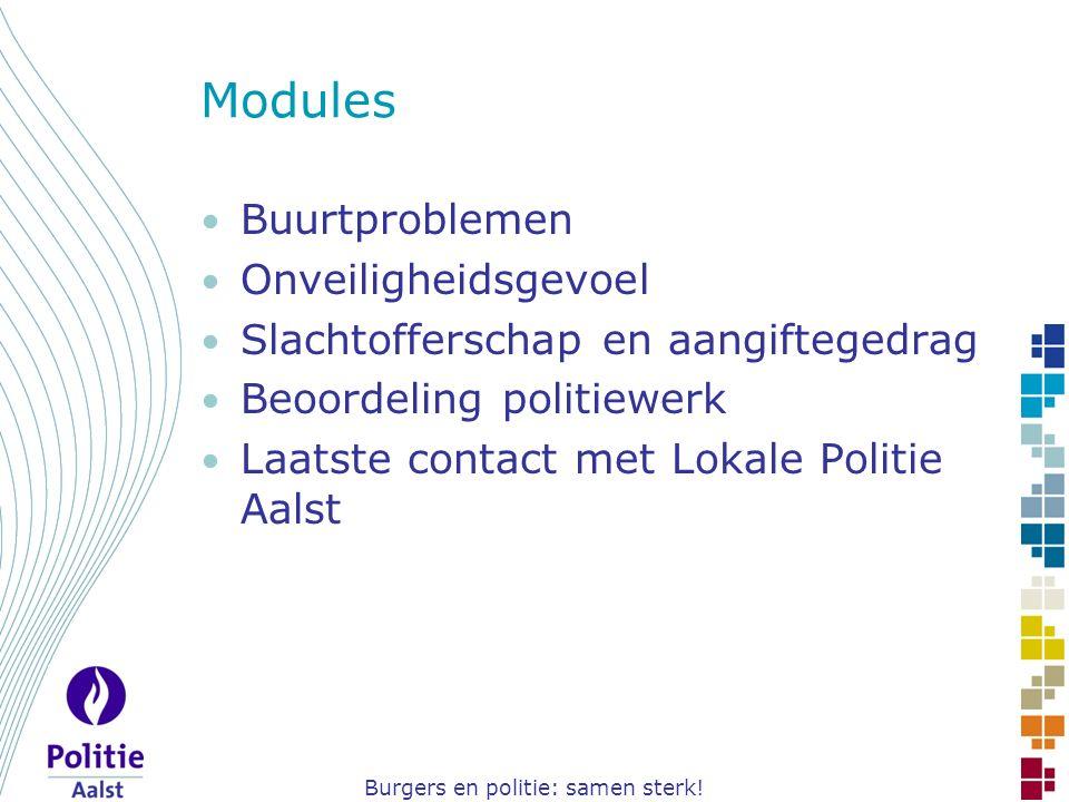 Burgers en politie: samen sterk! Modules Buurtproblemen Onveiligheidsgevoel Slachtofferschap en aangiftegedrag Beoordeling politiewerk Laatste contact