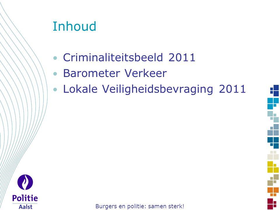 Burgers en politie: samen sterk! Inhoud Criminaliteitsbeeld 2011 Barometer Verkeer Lokale Veiligheidsbevraging 2011