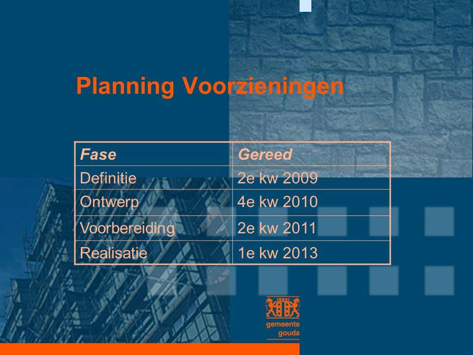 Planning Voorzieningen FaseGereed Definitie2e kw 2009 Ontwerp4e kw 2010 Voorbereiding2e kw 2011 Realisatie1e kw 2013