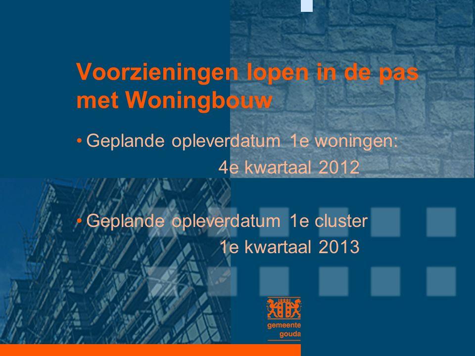 Voorzieningen lopen in de pas met Woningbouw Geplande opleverdatum 1e woningen: 4e kwartaal 2012 Geplande opleverdatum 1e cluster 1e kwartaal 2013