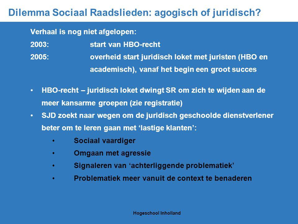 Dilemma Sociaal Raadslieden: agogisch of juridisch.