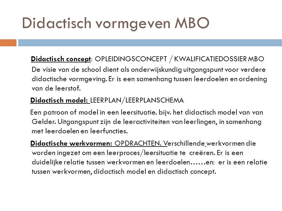 Didactisch vormgeven MBO Didactisch concept: OPLEIDINGSCONCEPT / KWALIFICATIEDOSSIER MBO De visie van de school dient als onderwijskundig uitgangspunt voor verdere didactische vormgeving.