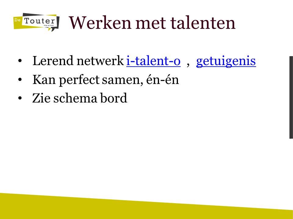 Werken met talenten Lerend netwerk i-talent-o, getuigenisi-talent-ogetuigenis Kan perfect samen, én-én Zie schema bord