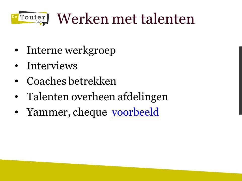 Werken met talenten Interne werkgroep Interviews Coaches betrekken Talenten overheen afdelingen Yammer, cheque voorbeeldvoorbeeld