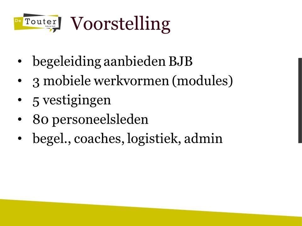 Voorstelling begeleiding aanbieden BJB 3 mobiele werkvormen (modules) 5 vestigingen 80 personeelsleden begel., coaches, logistiek, admin