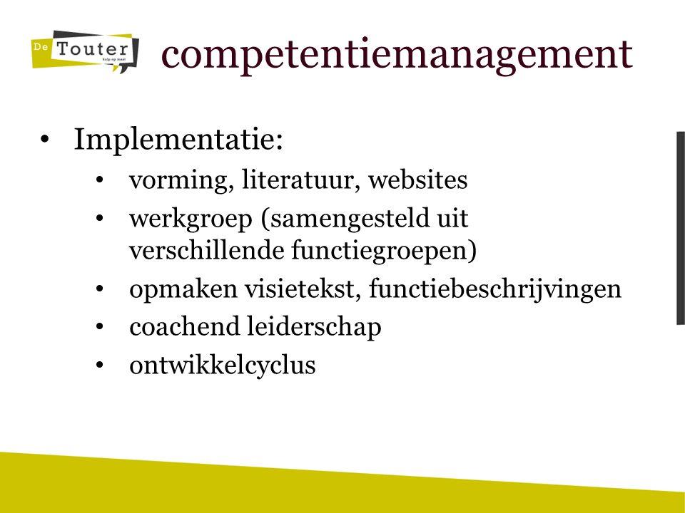 competentiemanagement Implementatie: vorming, literatuur, websites werkgroep (samengesteld uit verschillende functiegroepen) opmaken visietekst, functiebeschrijvingen coachend leiderschap ontwikkelcyclus