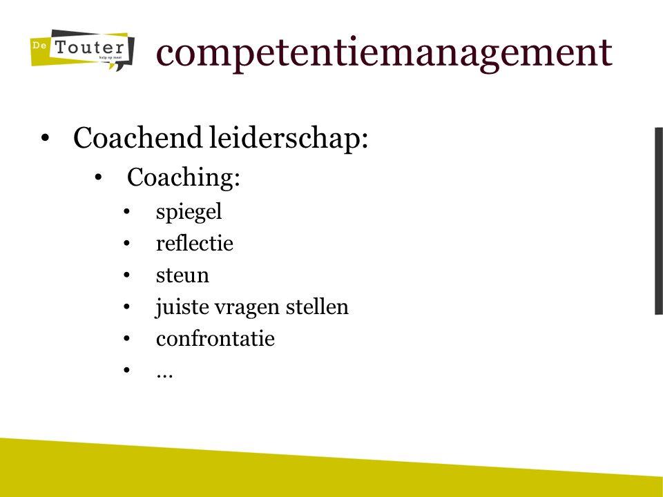 competentiemanagement Coachend leiderchap: Leiden: aansturen richting geven bewaken kader uitzetten begrenzen corrigeren …