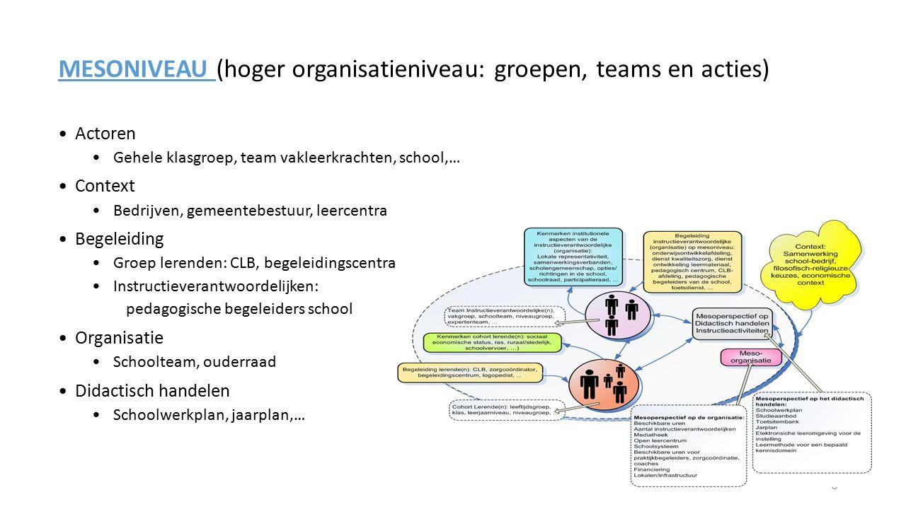 MESONIVEAU (hoger organisatieniveau: groepen, teams en acties) Actoren Gehele klasgroep, team vakleerkrachten, school,… Context Bedrijven, gemeentebes