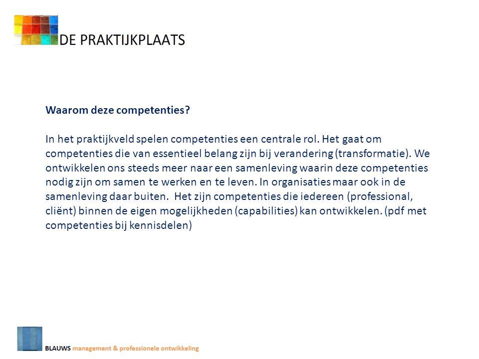 Waarom deze competenties. In het praktijkveld spelen competenties een centrale rol.