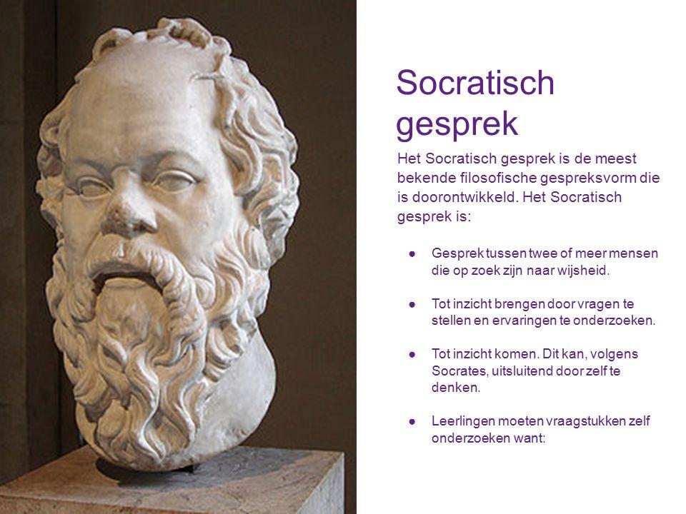 Socratisch gesprek Het Socratisch gesprek is de meest bekende filosofische gespreksvorm die is doorontwikkeld.