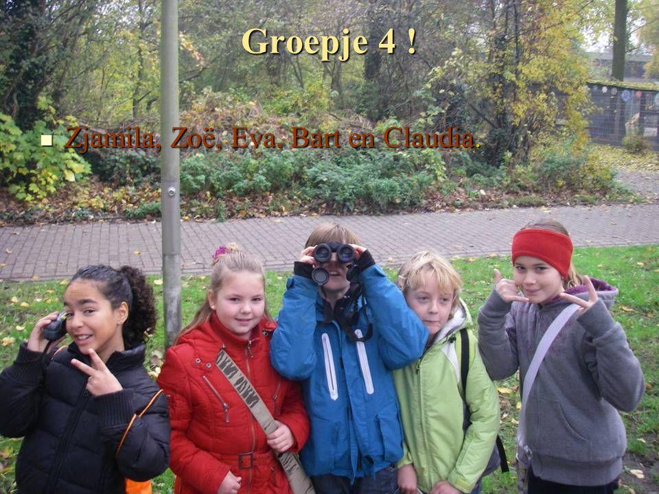 Groepje 4 ! Zjamila, Zoë, Eva, Bart en Claudia. Zjamila, Zoë, Eva, Bart en Claudia.